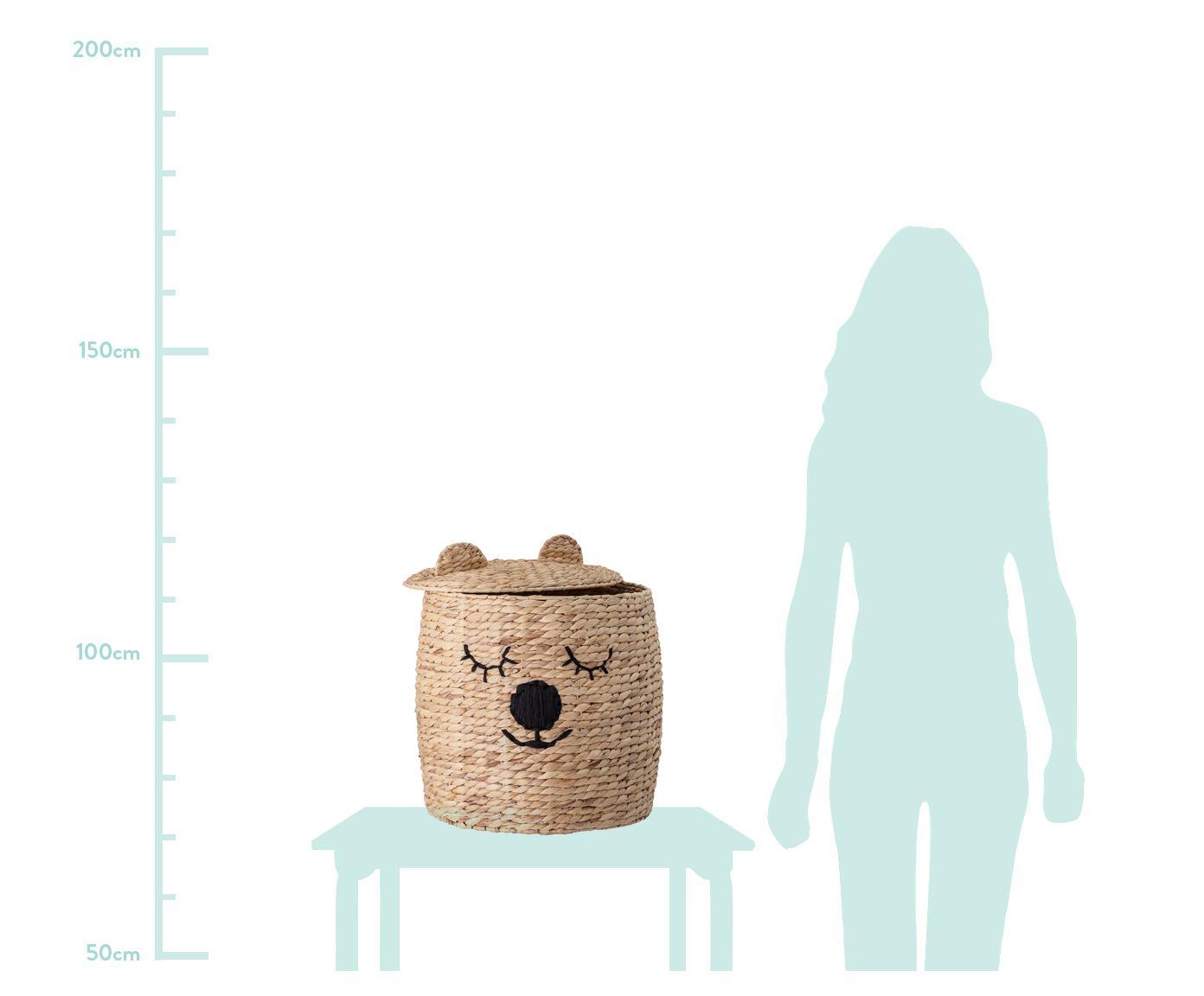 Aufbewahrungskorb Bear, Wasserhyazinthe, Beige, Ø 42 x H 50 cm