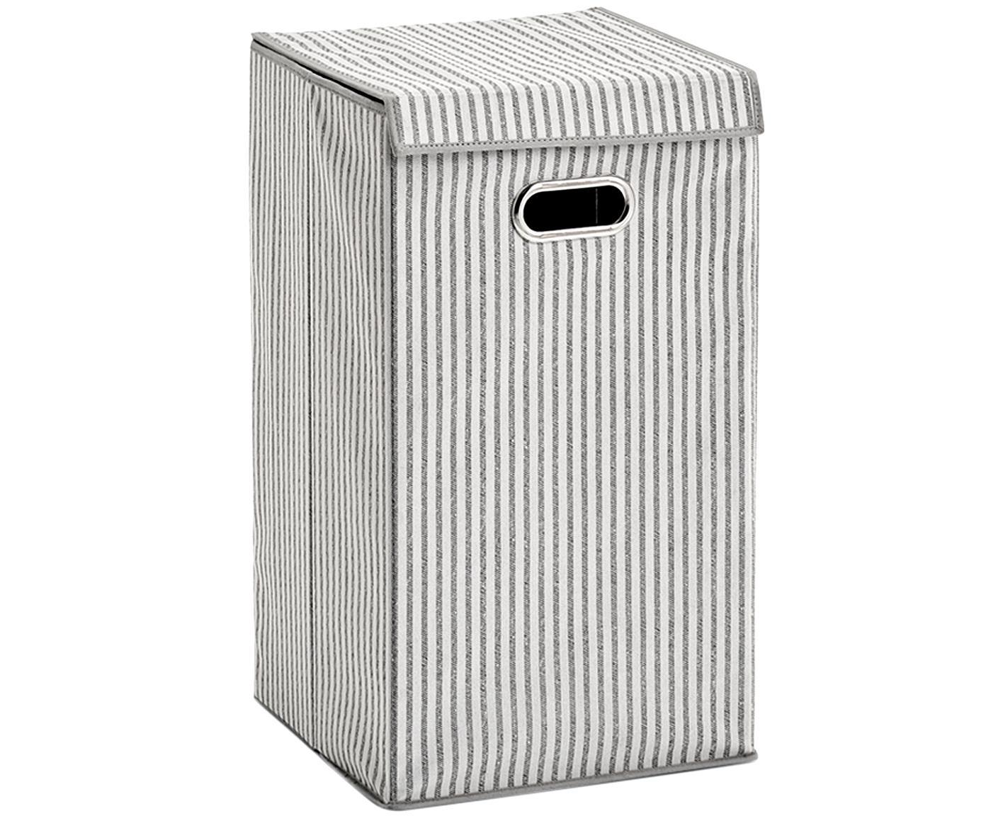 Cesta de lavandería Stripes, Asa: metal, Beige, crema, An 32 x Al 57 cm