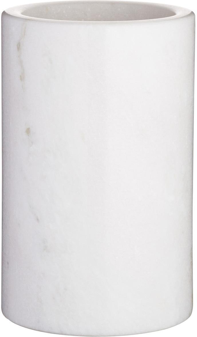 Marmeren fleskoeler Charlie, Marmer, Gemarmerd wit, Ø 12 x H 19 cm