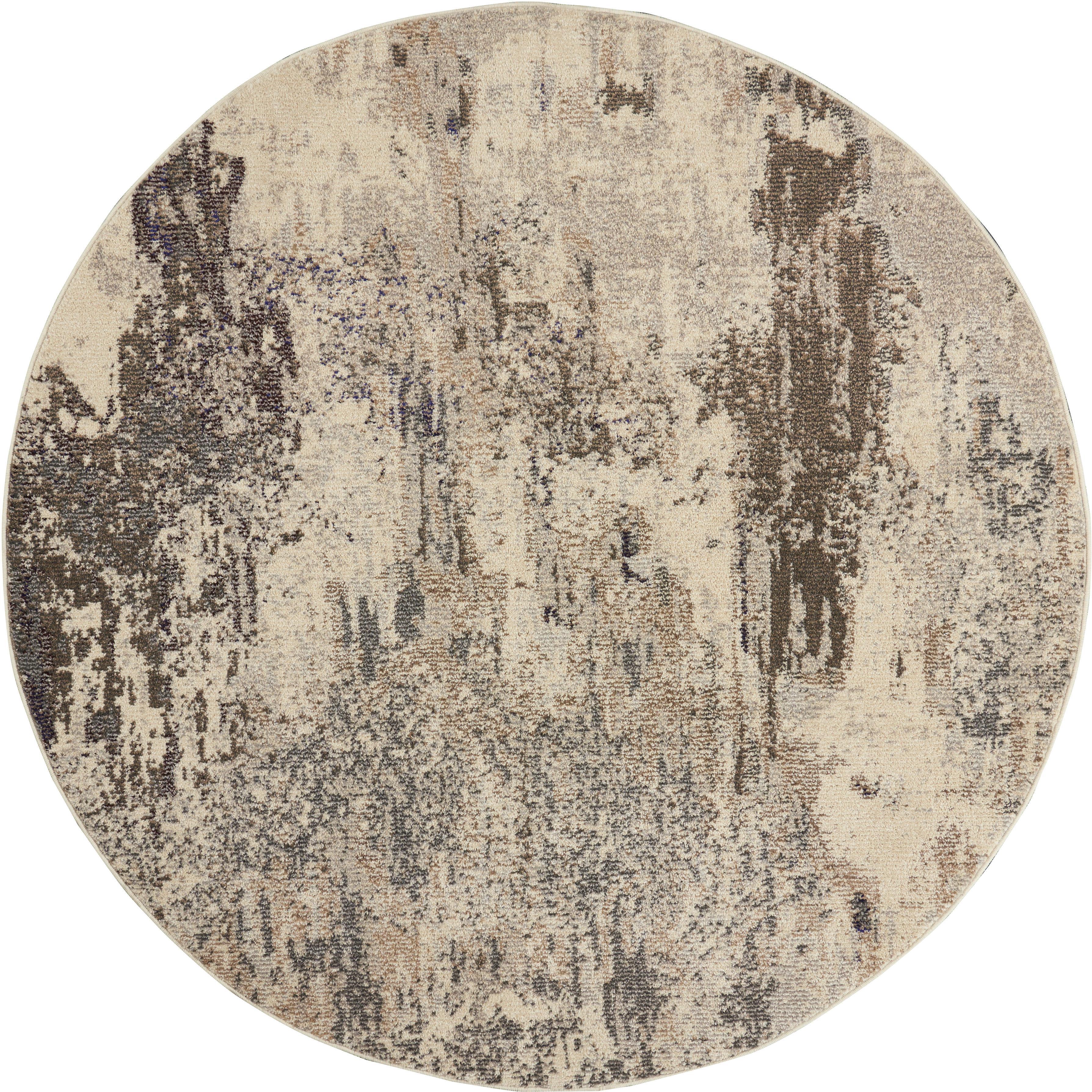 Runder Designteppich Celestial in Beige, Flor: 100% Polypropylen, Beigetöne, Ø 240 cm (Grösse XL)