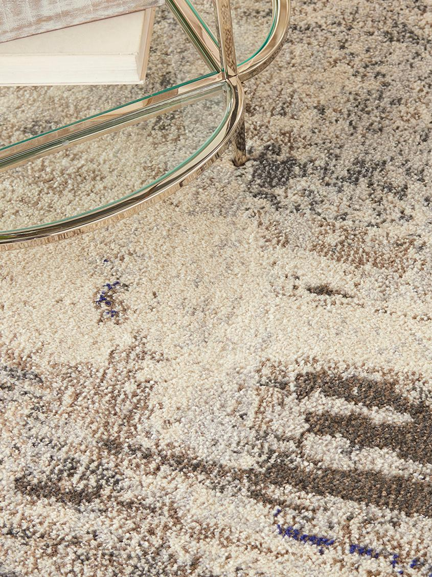 Runder Designteppich Celestial in Beige, Flor: 100% Polypropylen, Beigetöne, Ø 240 cm (Größe XL)