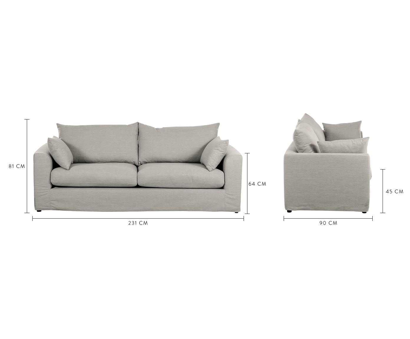 Sofa Zach (3-Sitzer), Bezug: Polypropylen Der hochwert, Füße: Kunststoff, Webstoff Taupe, B 231 x T 90 cm