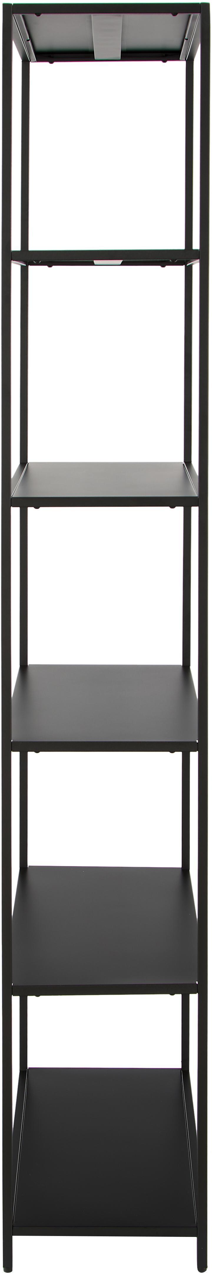 Metall-Regal Newton in Schwarz, Metall, pulverbeschichtet, Schwarz, 70 x 185 cm