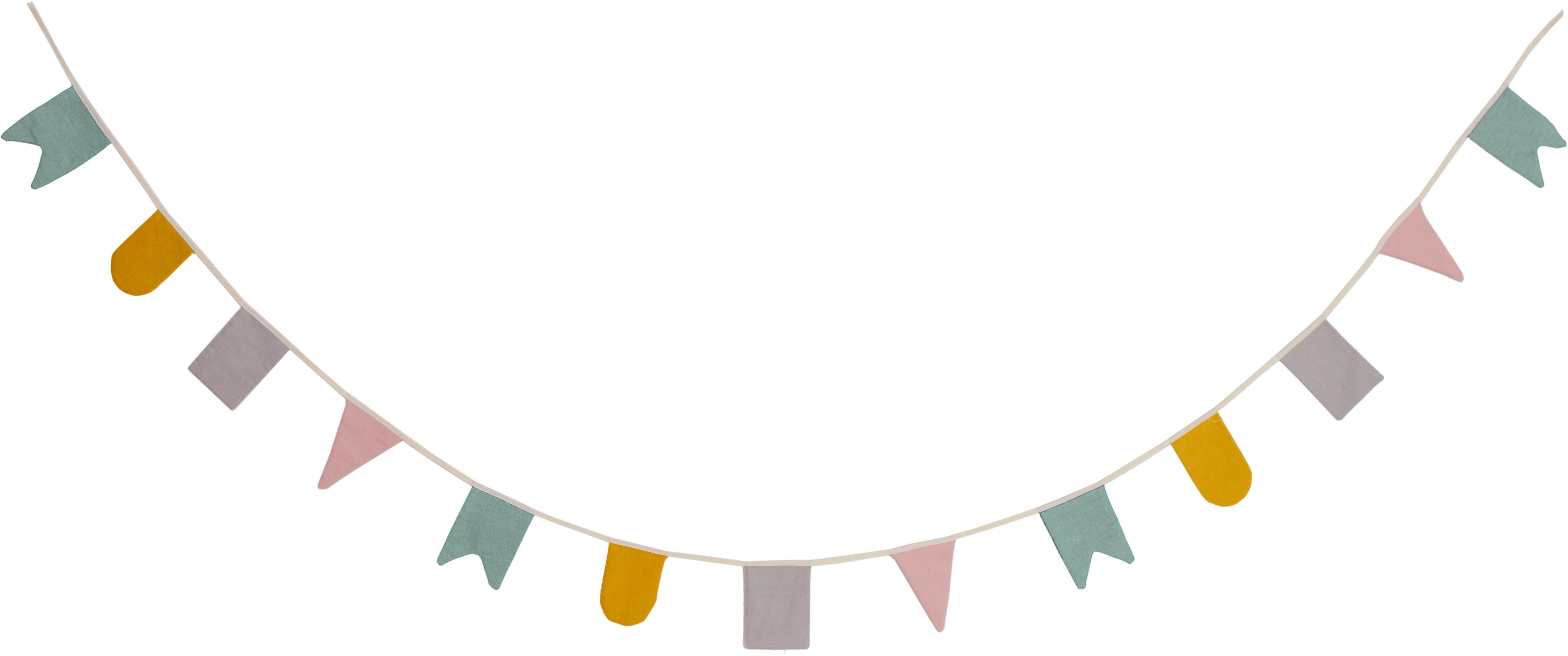 Girlanda z bawełny organicznej Hip Hip Hurra, 300 cm, Bawełna organiczna, certyfikat GOTS, Wielobarwny, D 300 x W 15 cm