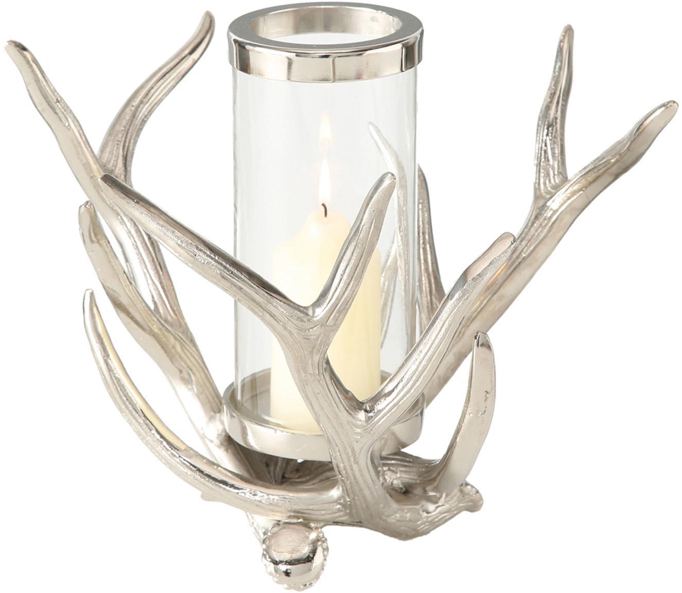 Portacandela country in vetro Antlers, 2 pz., Portacandela: alluminio, Trasparente, alluminio, Larg. 33 x Alt. 25 cm
