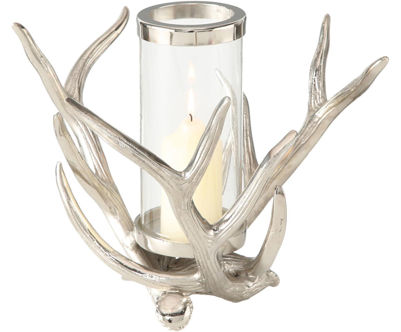 Windlichten Antlers, 2 stuks, Windlicht: aluminium, Transparant, aluminiumkleurig, 33 x 25 cm