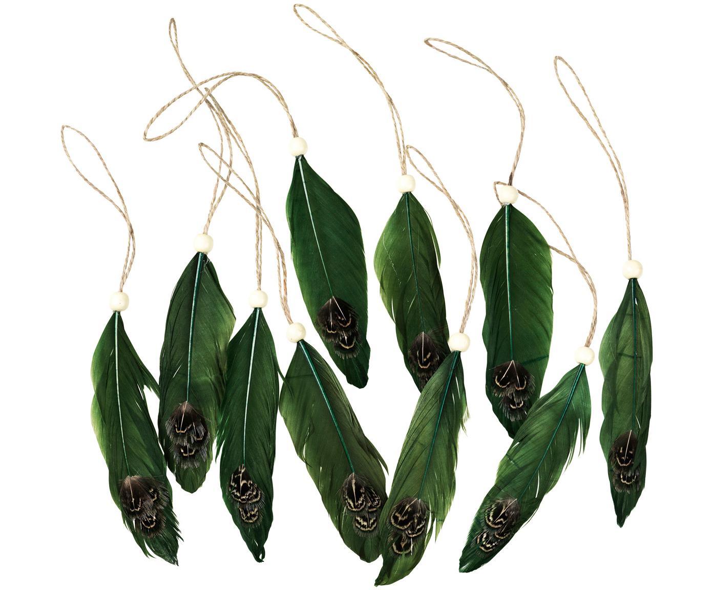 Set di piume decorative da appendere Tori 10 pz, Verde, L 12 x P 2 cm