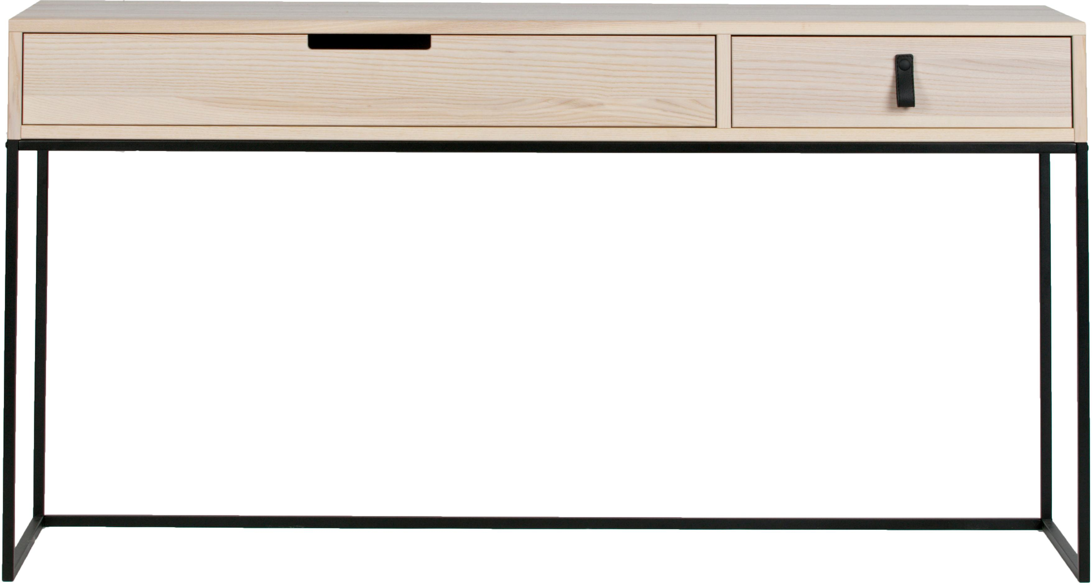Konsole Silas mit 2 Schubladen, Korpus: Eschenholz, gebürstet, Gestell: Metall, lackiert, Eschenholz, Schwarz, B 140 x T 40 cm
