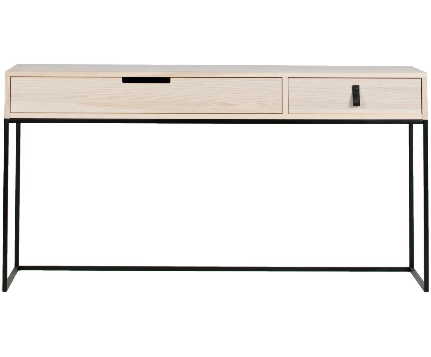 Consola Silas, con 2 cajones, Estructura: madera de fresno cepillad, Patas: metal pintado, Fresno, negro, An 140 x F 40 cm
