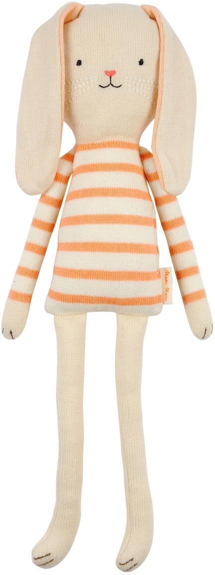 Peluche coniglietto in cotone organico Bunny, Cotone organico, Beige chiaro, arancione, Larg. 12 x Alt. 33 cm