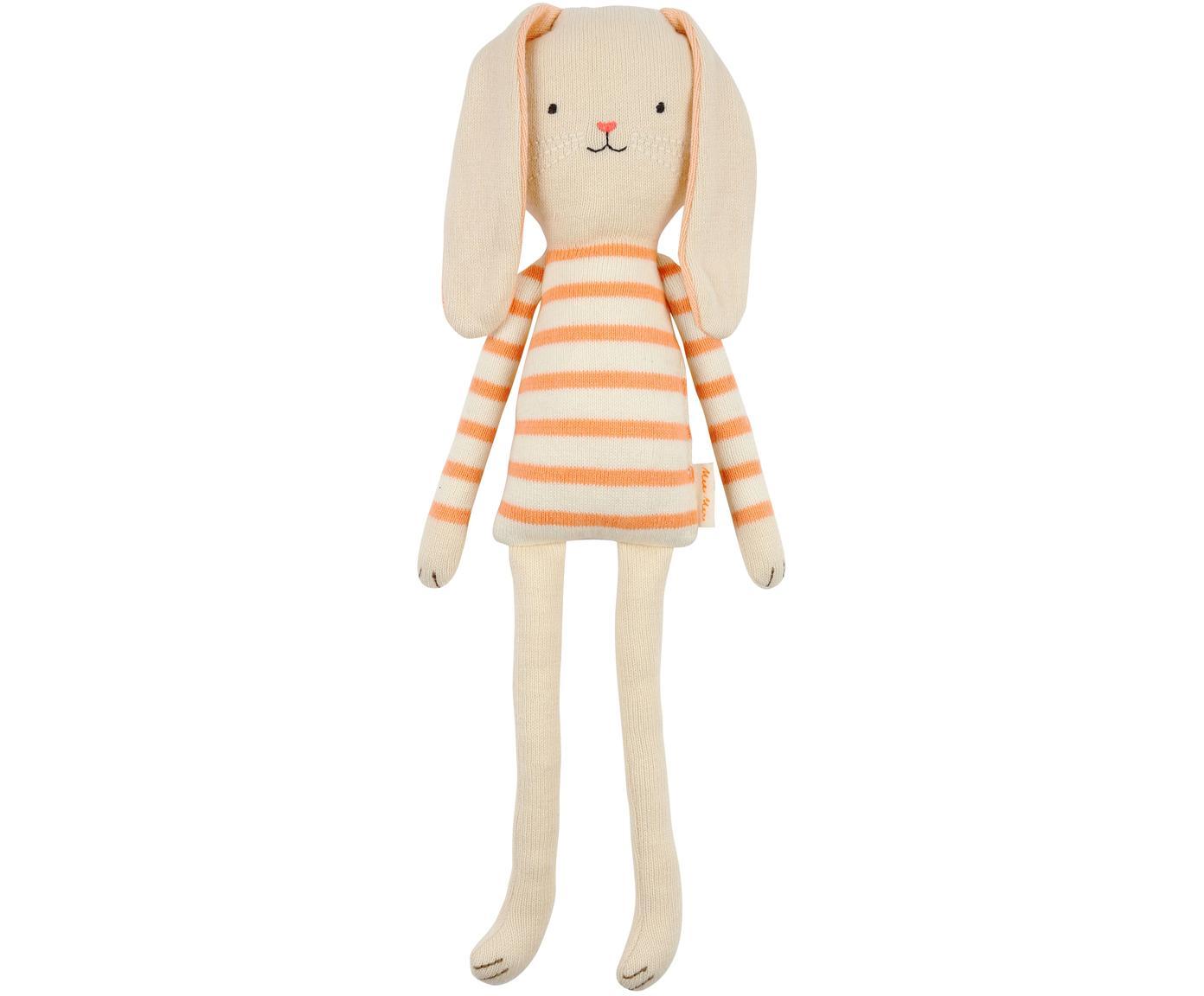 Kuscheltier Bunny aus Bio-Baumwolle, Bio-Baumwolle, OCS-zertifiziert, Hellbeige, Orange, 12 x 33 cm