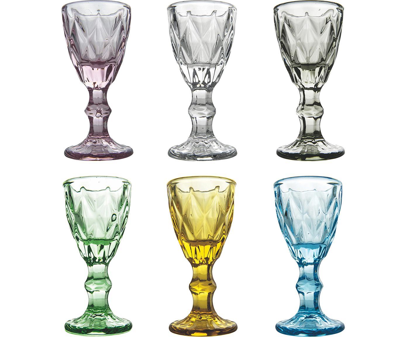 Schnapsgläser Prisma, 6er-Set, Glas, Mehrfarbig, Ø 5 x H 11 cm