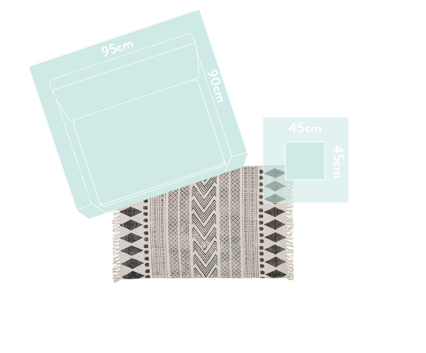 Tapis de couloir imprimé à la main style ethno Block, noir et crème, Noir, crème