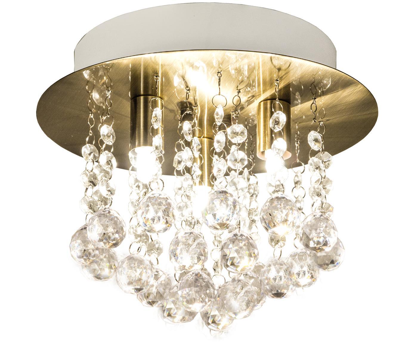 XS Deckenleuchte Madelene mit Glaskristallen, Lampenschirm: Messing, Messing, Transparent, Ø 26 x H 20 cm