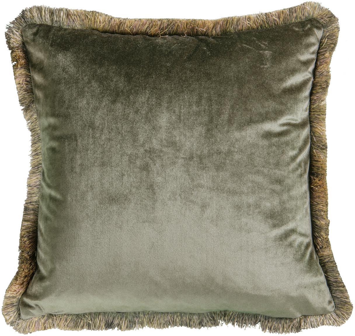 Cuscino con imbottitura in velluto Ombre, Rivestimento: 100% velluto di poliester, Cachi, Larg. 45 x Lung. 45 cm