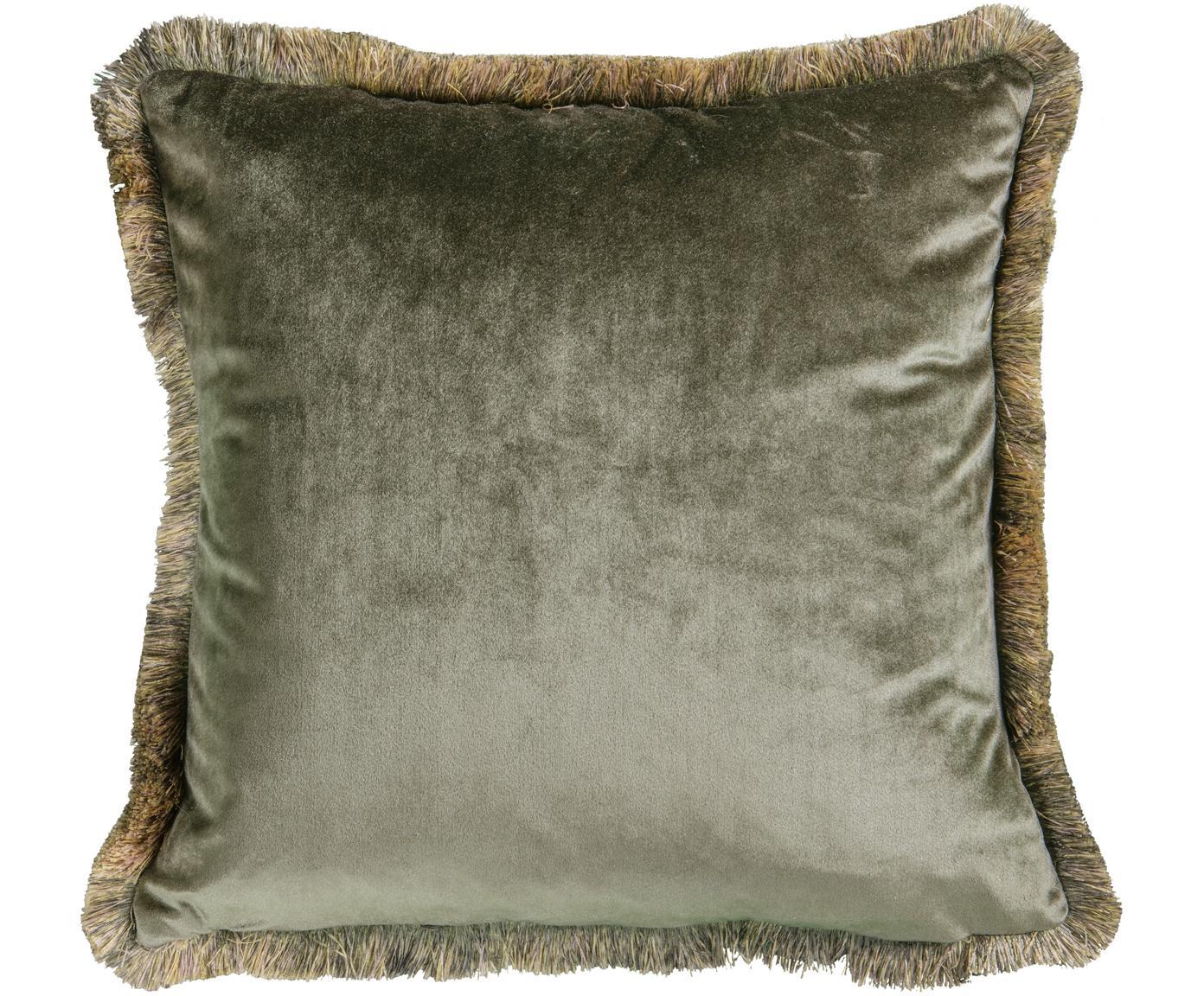 Poduszka z aksamitu z wypełnieniem Ombre, Tapicerka: aksamit poliestrowy, Khaki, S 45 x D 45 cm