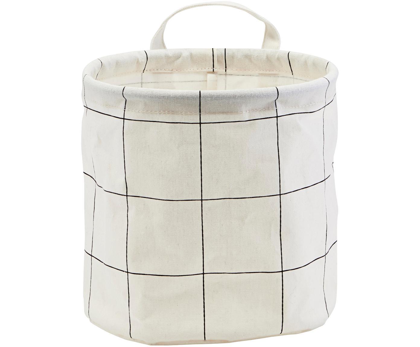 Opbergmand Squares, 38%katoen, 40%polyester, 22%rayon, Wit, zwart, Ø 20 x H 20 cm