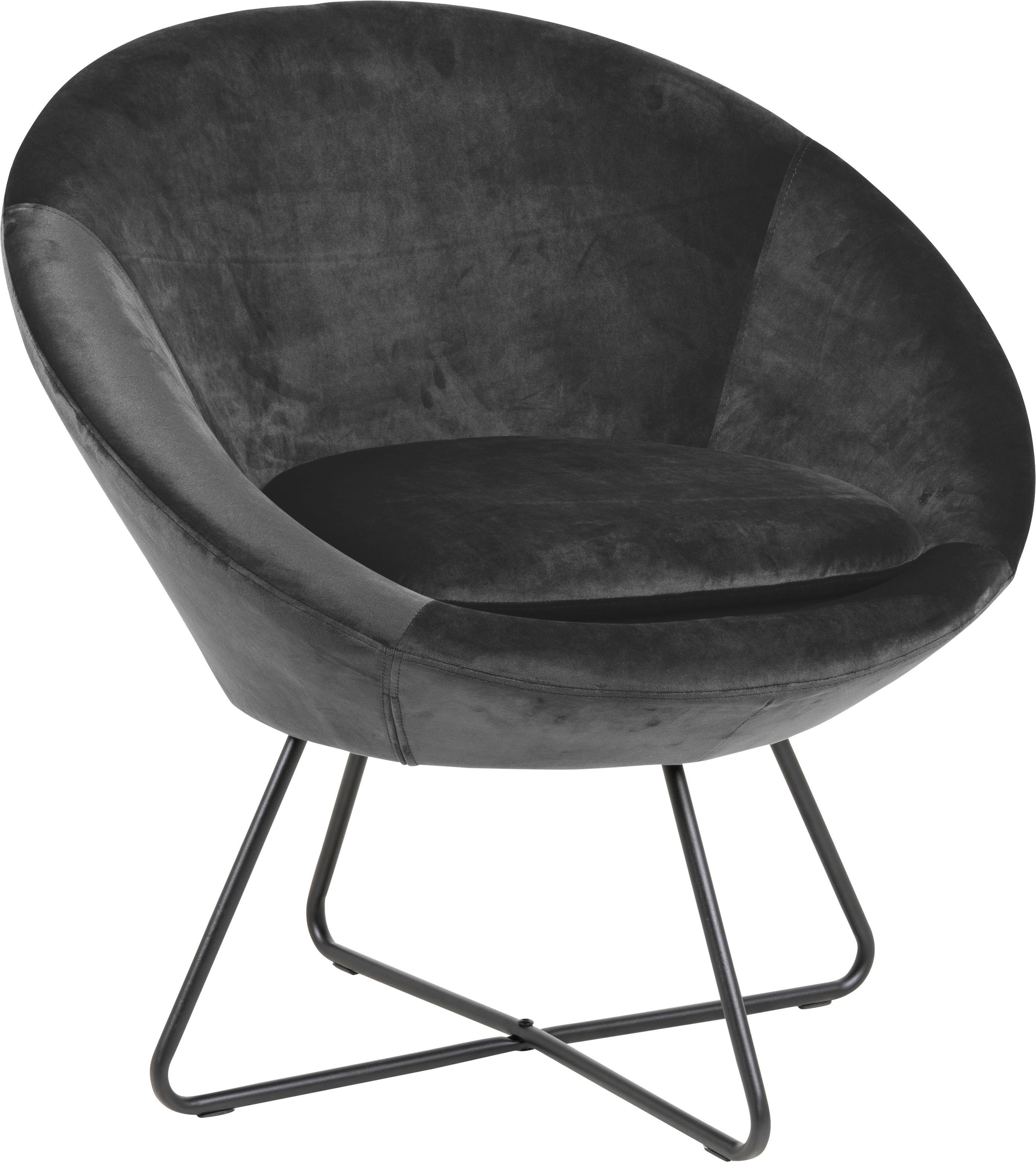 Fluwelen fauteuil Center in grijs, Bekleding: polyester fluweel, Frame: gecoat metaal, Donkergrijs, zwart, 82 x 71 cm