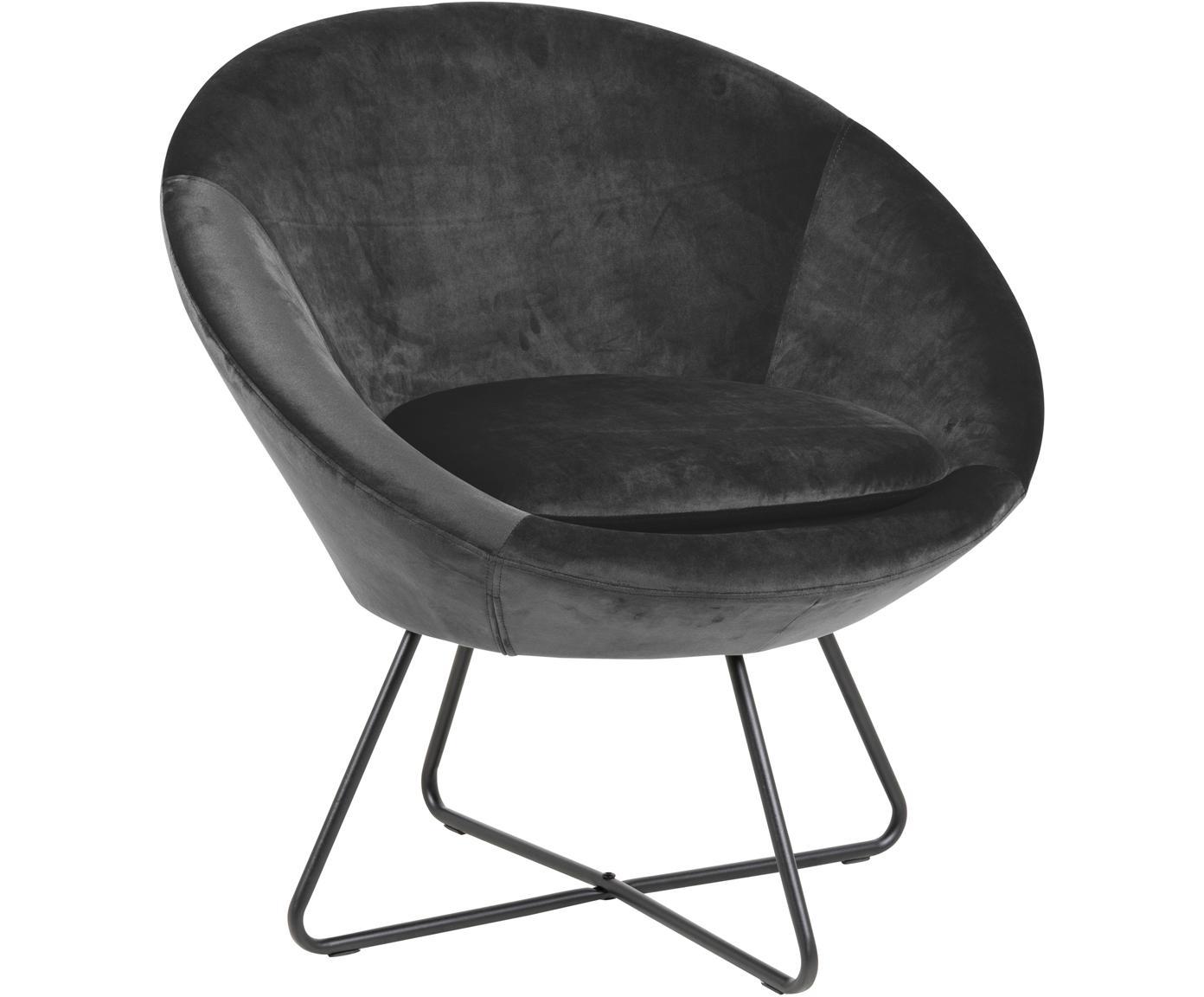 Fotel koktajlowy z aksamitu Center, Tapicerka: aksamit poliestrowy 2500, Stelaż: metal malowany proszkowo, Ciemnyszary, czarny, S 82 x G 71 cm