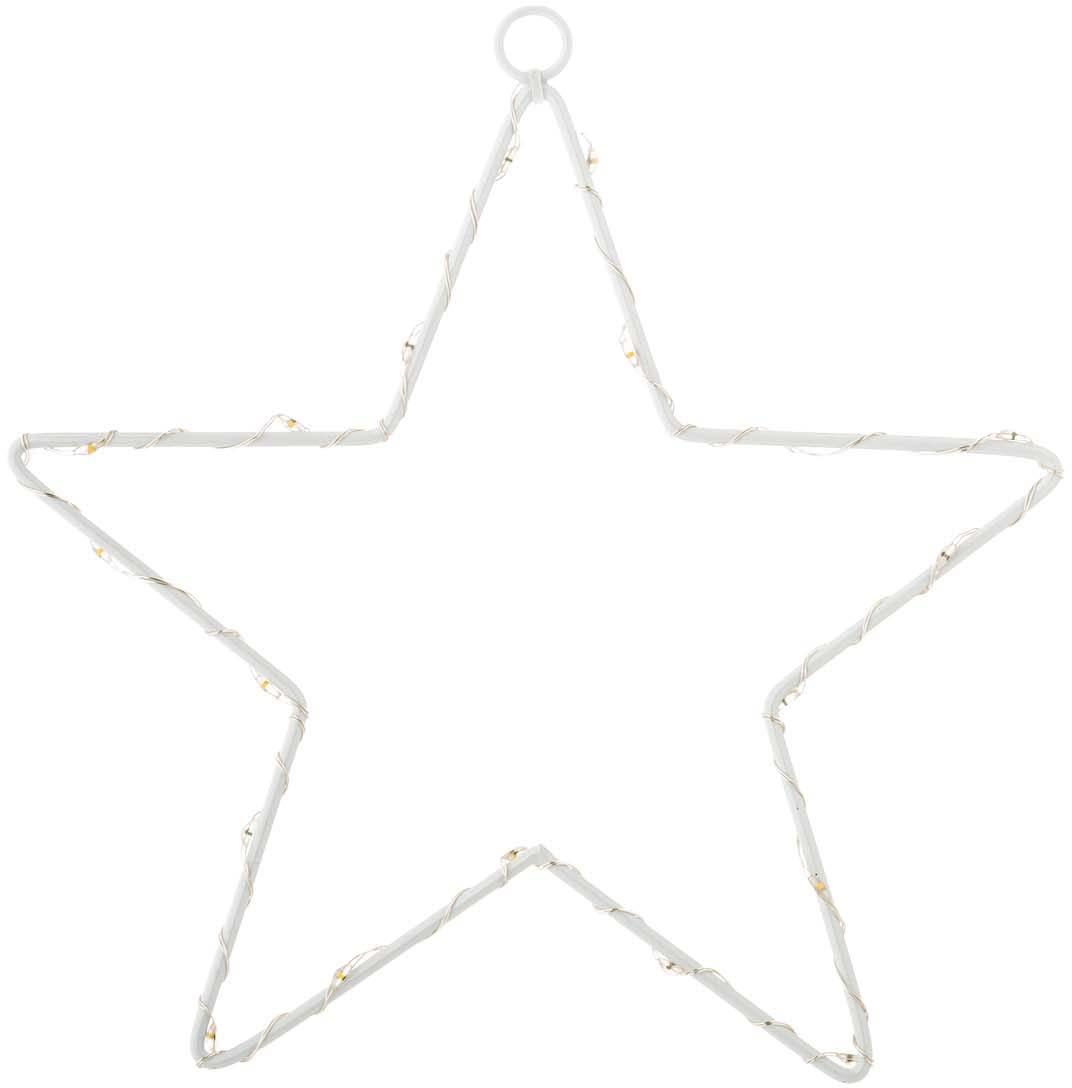 Estrella luminosa LED Silhouet, Metal pintado, Blanco, Ancho 20 x Alto 21 cm