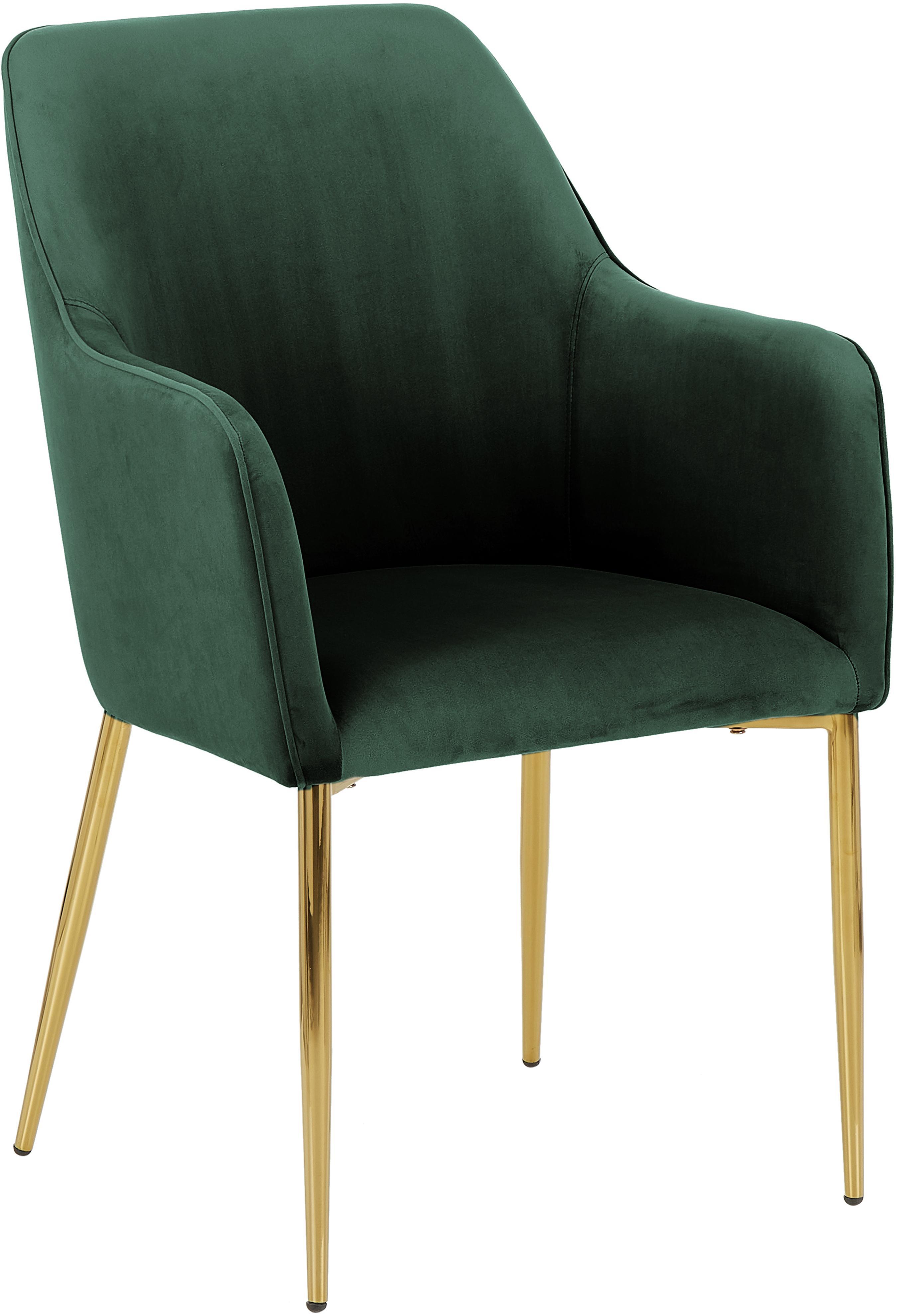 Krzesło z podłokietnikami  z aksamitu Ava, Tapicerka: aksamit (poliester) 5000, Nogi: metal galwanizowany, Ciemny zielony, S 57 x G 62 cm