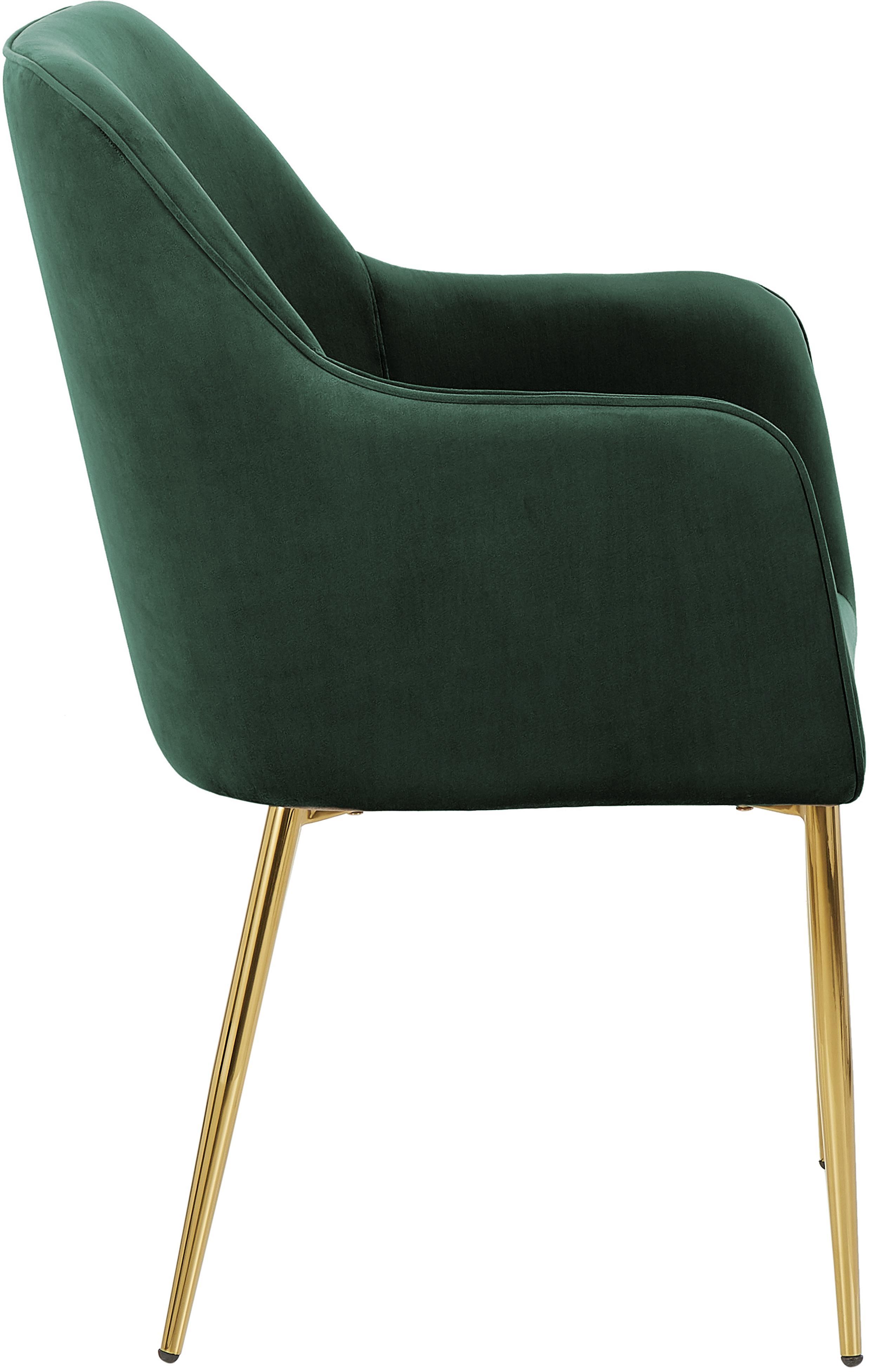 Samt-Armlehnstuhl Ava mit goldfarbenen Beinen, Bezug: Samt (Polyester) 50.000 S, Beine: Metall, galvanisiert, Samt Dunkelgrün, Beine Gold, B 57 x T 63 cm
