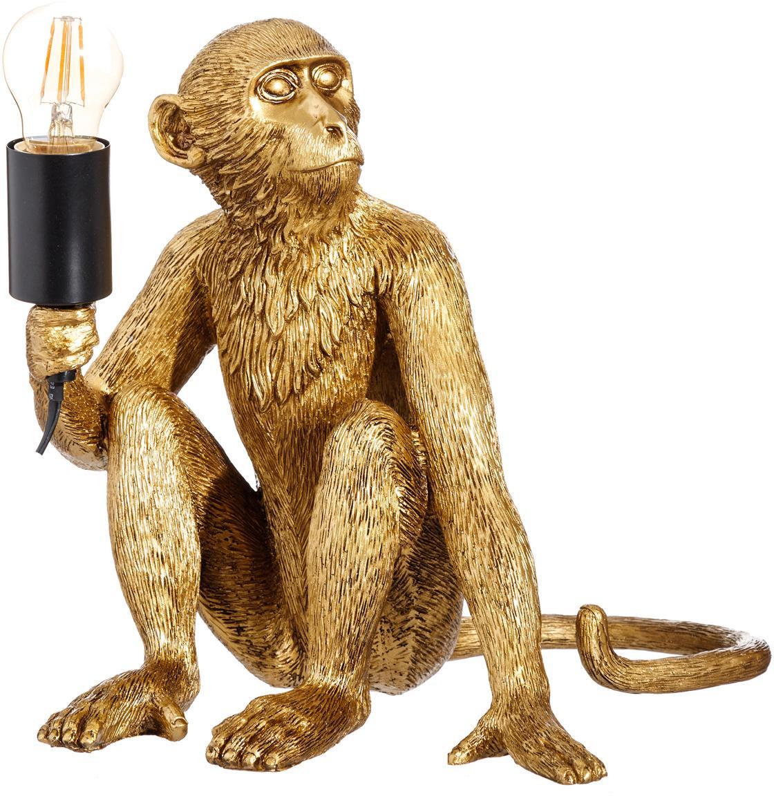 Lampada da tavolo Monkey, Poliresina, Ottonato, Larg. 31 x Alt. 31 cm