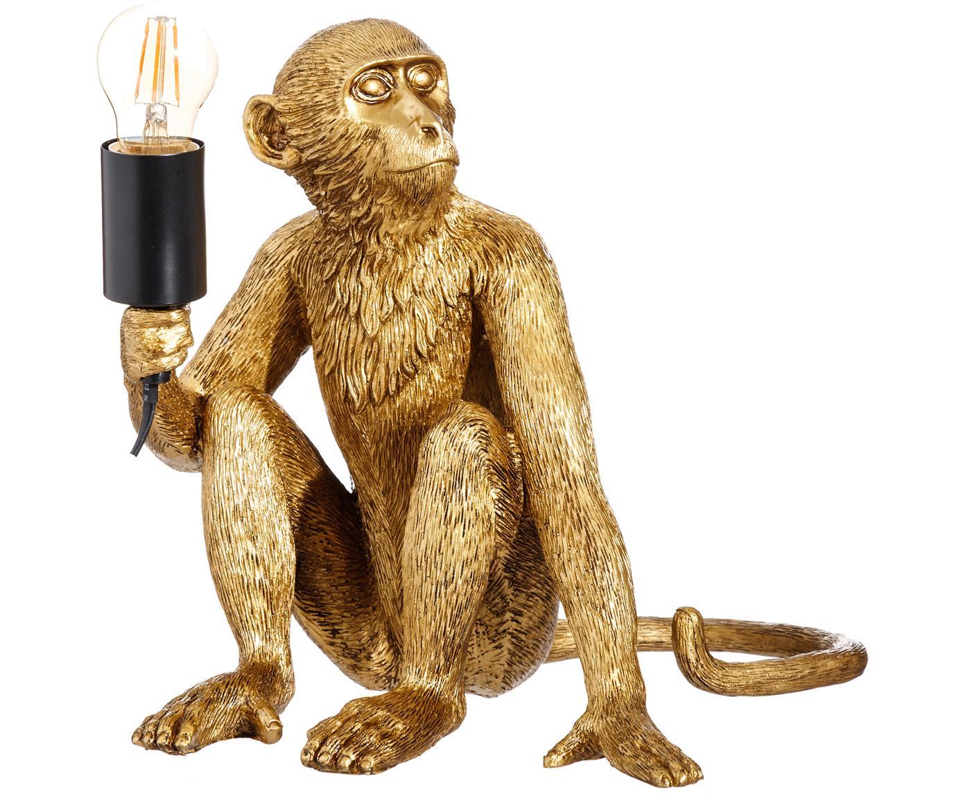 Tischleuchte Monkey, Polyresin, Messingfarben, 31 x 31 cm
