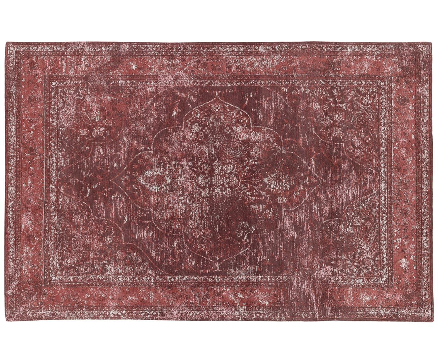 Vintage Chenilleteppich Palermo in Rot, Flor: 95% Baumwolle, 5% Polyest, Rot, Creme, Dunkelrot, B 120 x L 180 cm (Größe S)