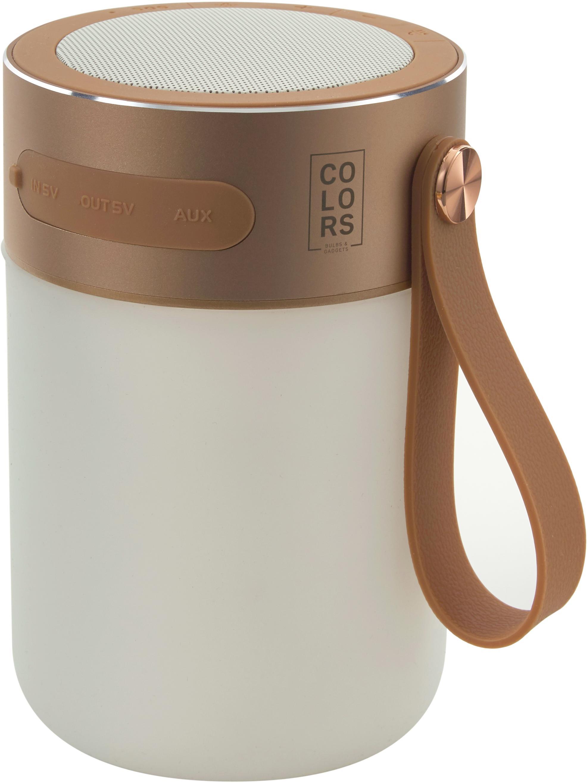 Lámpara LED para exterior con altavoz Sound Jar, portátil, Estructura: metal, Pantalla: plástico, cobre, blanco, Ø 9 x Al 14 cm