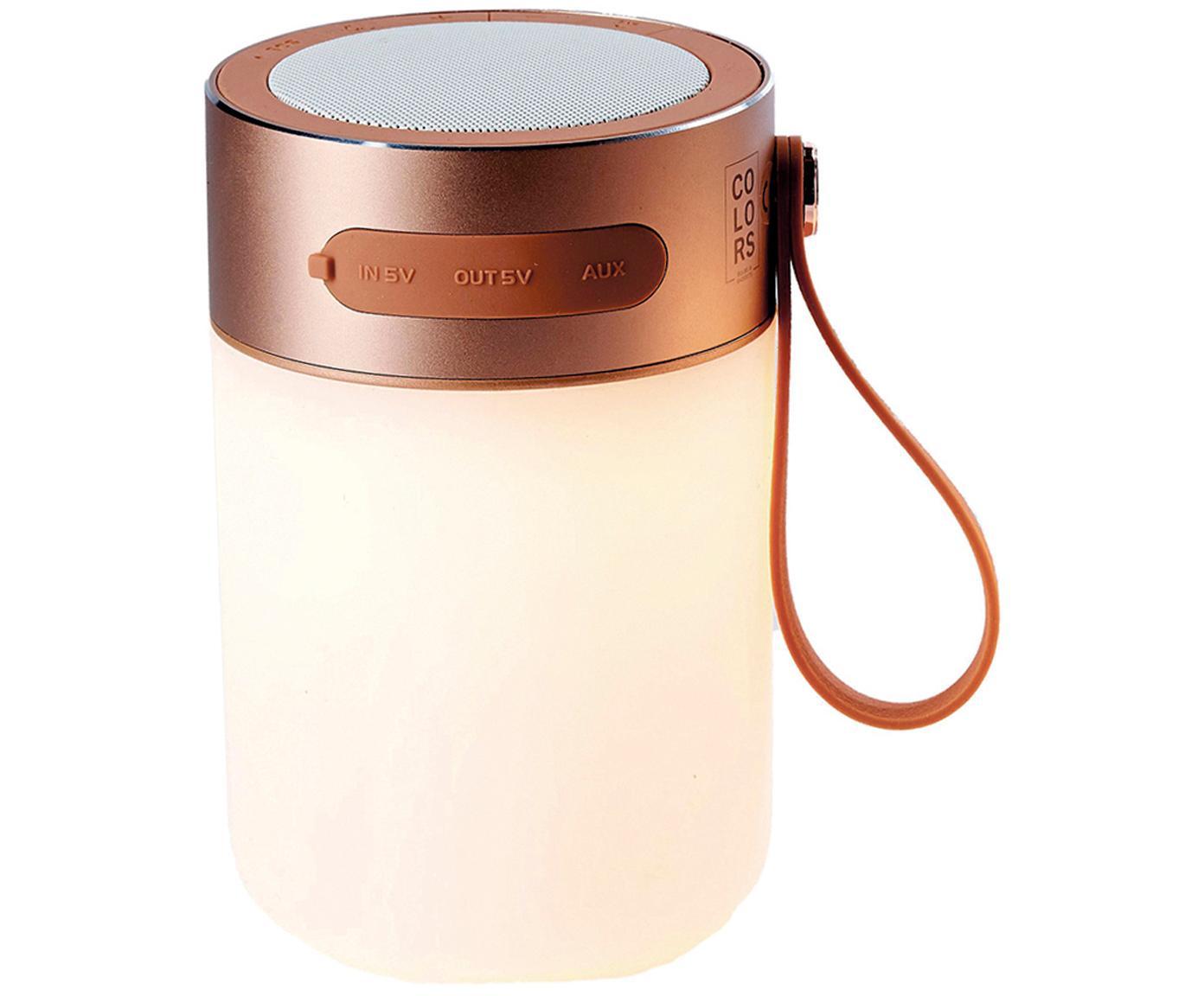 Mobiele outdoor LED lamp met luidspreker Sound Jar, Frame: metaal, Lampenkap: kunststof, Koperkleurig, wit, Ø 9 x H 14 cm