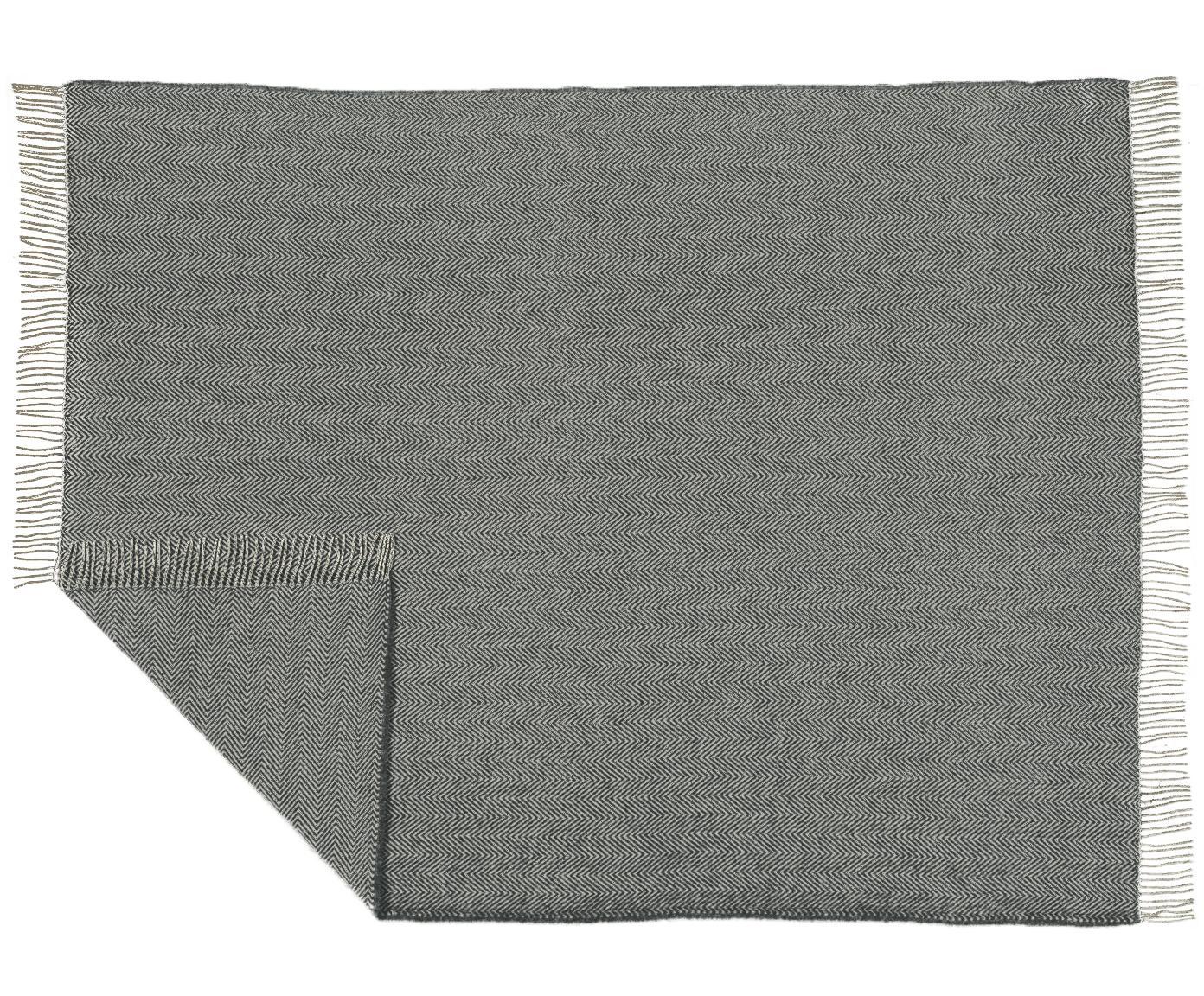Pled z wełny Aubrey, Szary, złamana biel, S 140 x D 186 cm