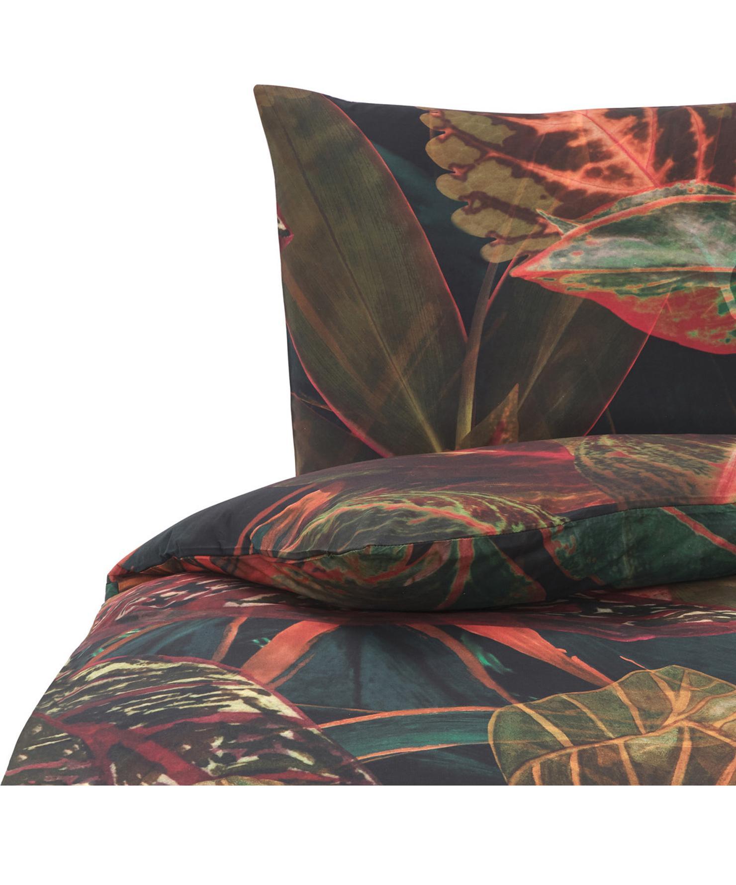 Baumwoll-Bettwäsche Velvetleaf, Baumwolle Fadendichte 144 TC, Standard Qualität Bettwäsche aus Baumwolle fühlt sich auf der Haut angenehm weich an, nimmt Feuchtigkeit gut auf und eignet sich für Allergiker, Grün- und Rottöne, 135 x 200 cm + 1 Kissen 80 x 80 cm