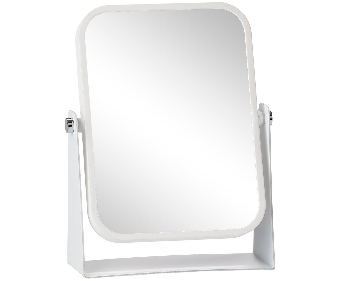Specchio cosmetico Aurora con ingrandimento, Cornice: metallo, Superficie dello specchio: lastra di vetro, Cornice: bianco Superficie dello specchio: lastra di vetro, L 15 x A 21 cm