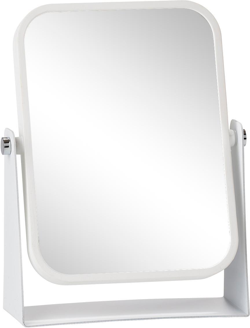 Make-up spiegel Aurora met vergroting, Frame: metaal, Frame: wit. Spiegelvlak: spiegelglas, 15 x 21 cm