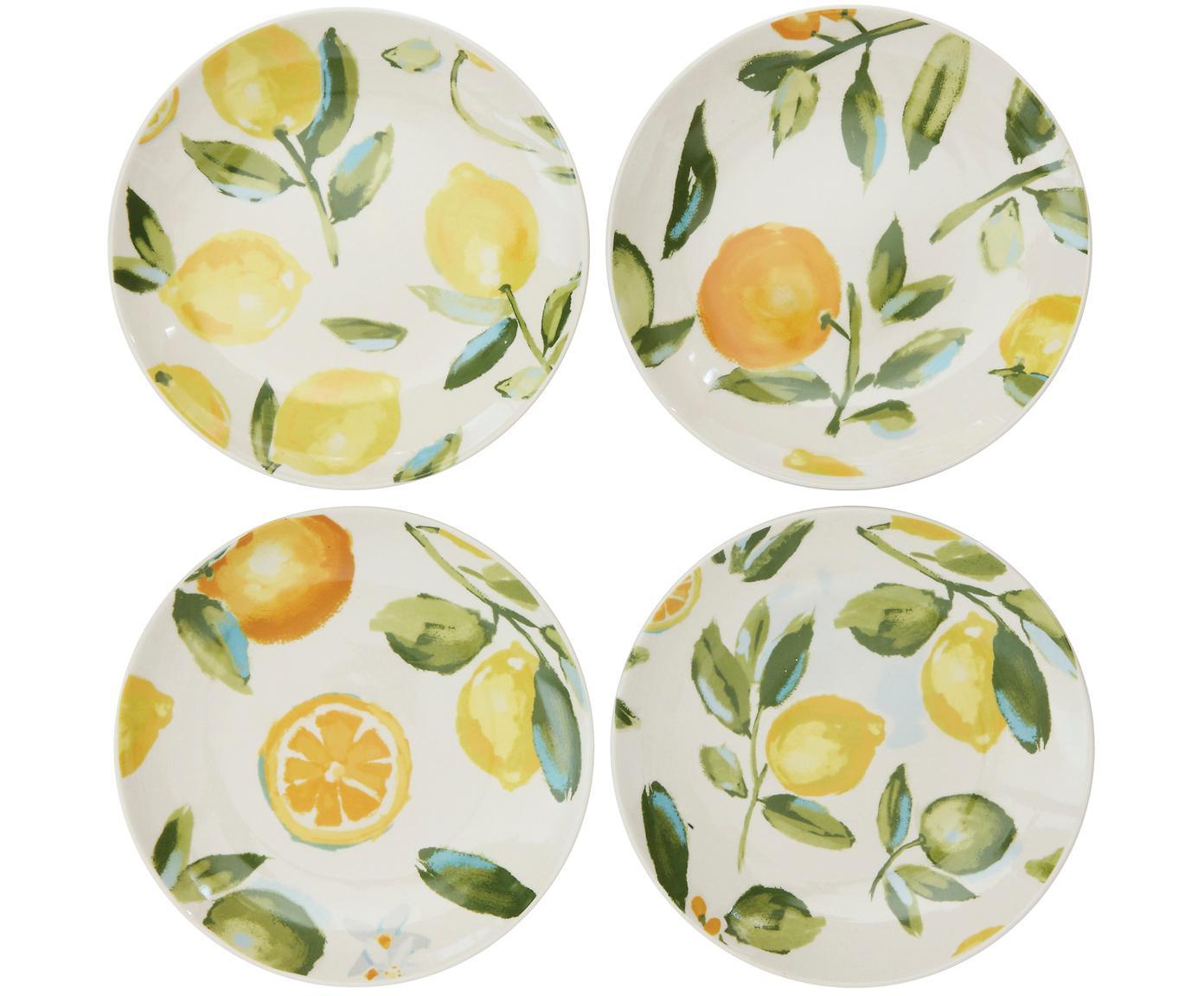 Handgemachte Frühstücksteller Gatherings, 4er-Set, Steingut, Weiß, Grün, Gelb, Ø 21 x H 3 cm