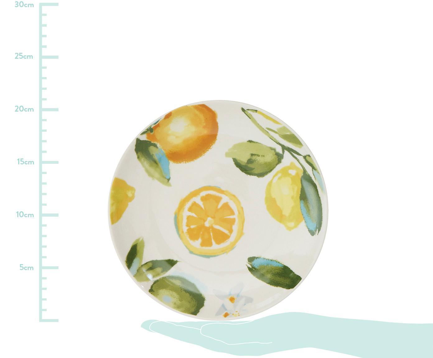 Set 4 piattini da dessert fatti a mano Gatherings, Terracotta, Bianco, verde, giallo, Ø 21 x Alt. 3 cm