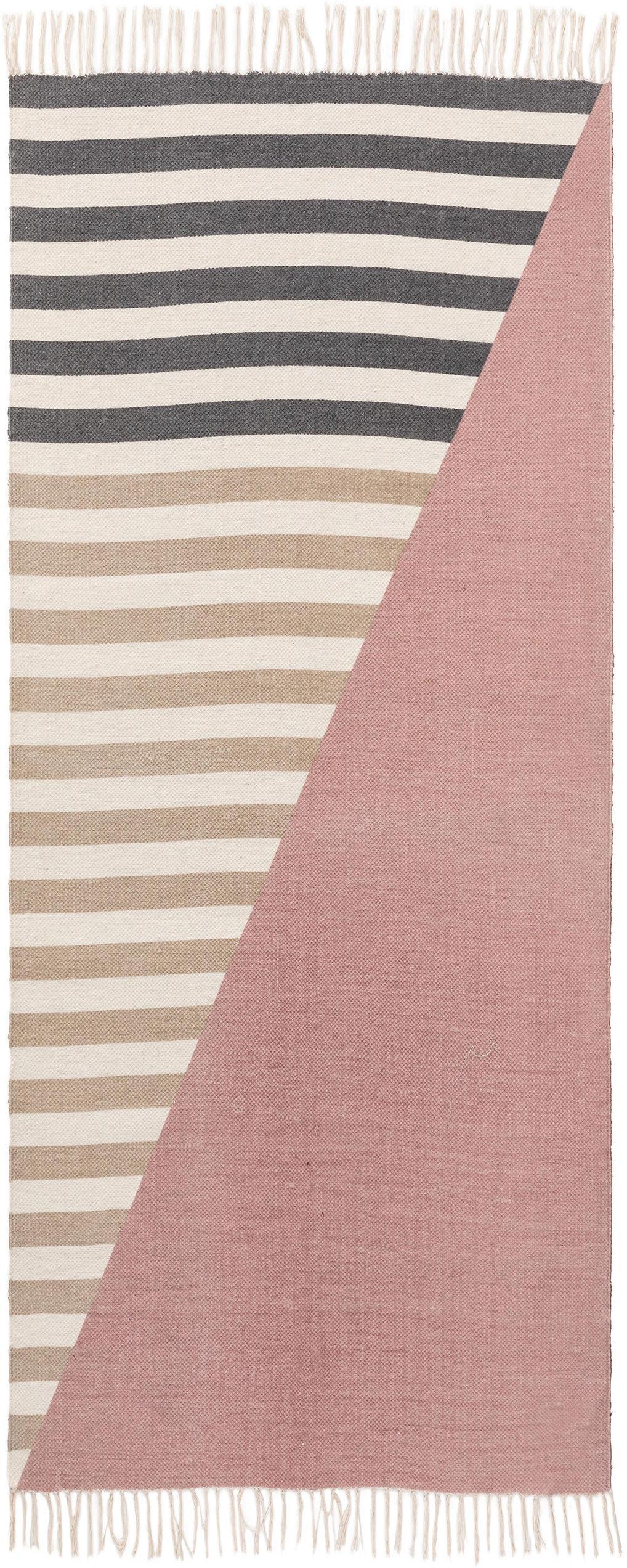 Wollen vloerkleed Oasis met strepen en franjes, 100% wol, Roze, beige, taupe, B 60 x L 120 cm (maat XS)