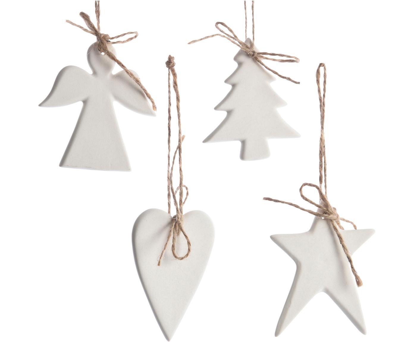 Boomhangersset Ornament, 4-delig, Ophanglus: jute, Wit, 6 x 8 cm