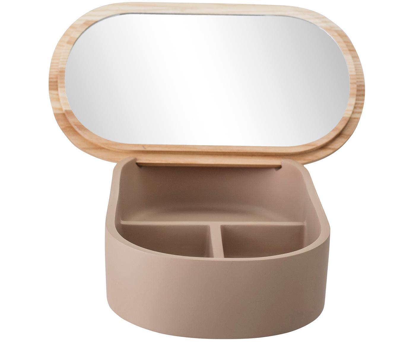 Schmuckbox Noah, Box: Polyresin, Deckel: Eschenholz, Altrosa, Eschenholz , Spiegelglas, 23 x 6 cm