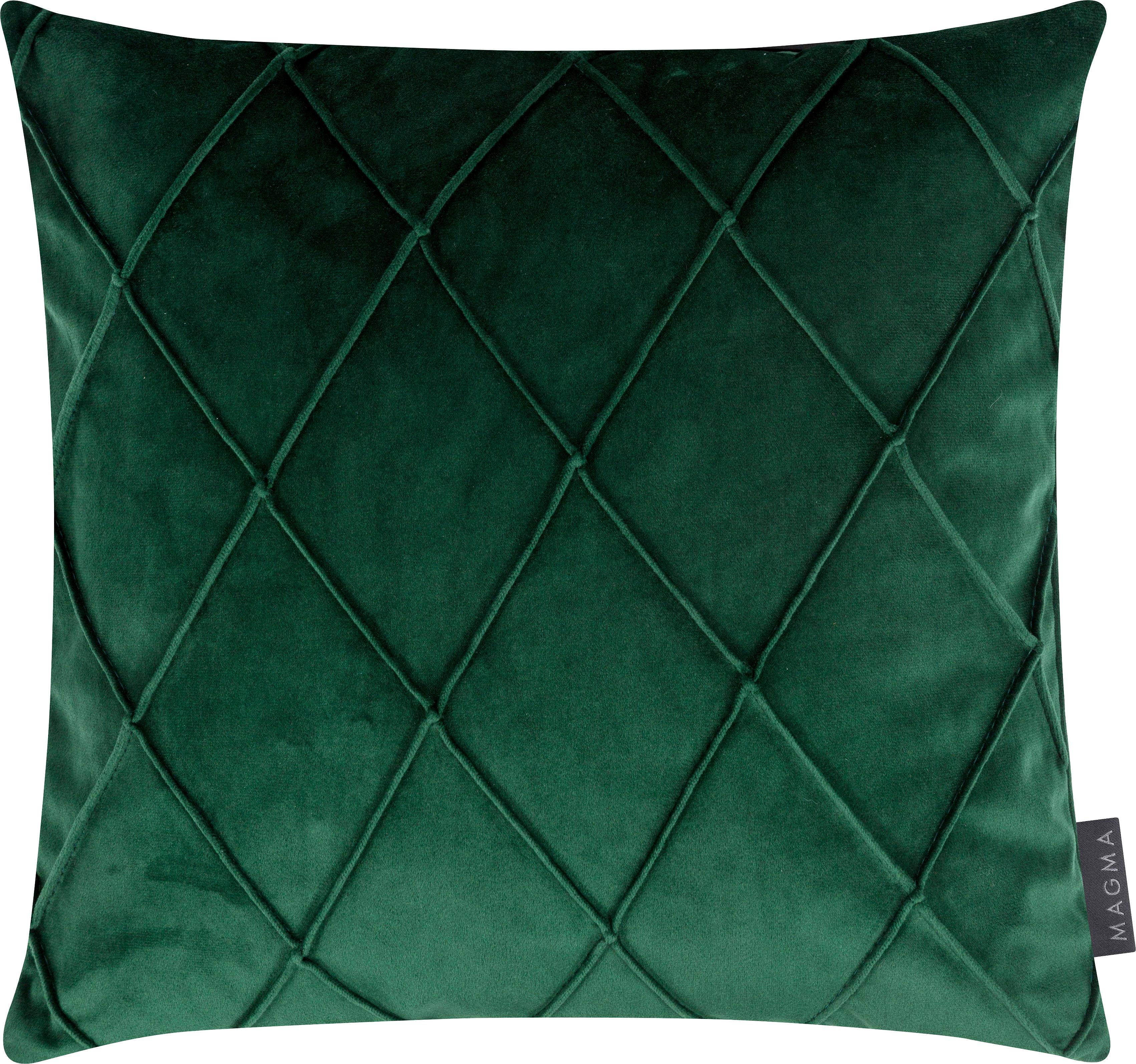 Samt-Kissenhülle Nobless mit erhabenem Rautenmuster, 100% Polyestersamt, Grün, 40 x 40 cm