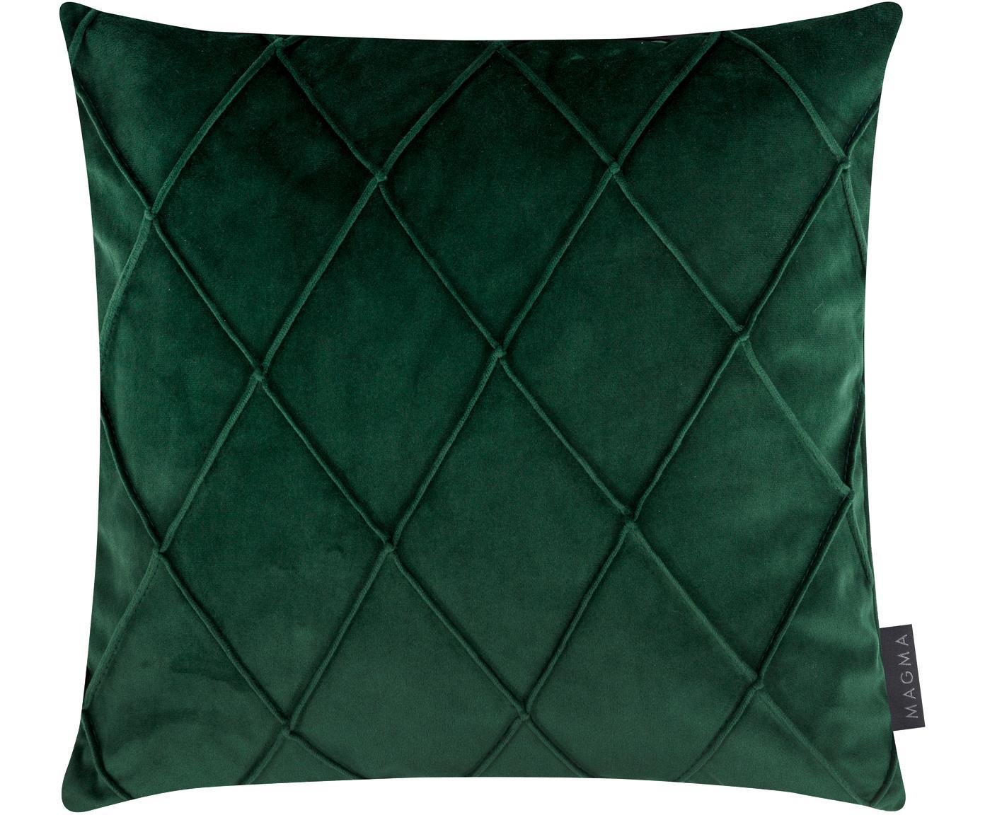 Federa arredo in velluto con motivo a rombi Nobless, Velluto di poliestere, Verde, Larg. 40 x Lung. 40 cm