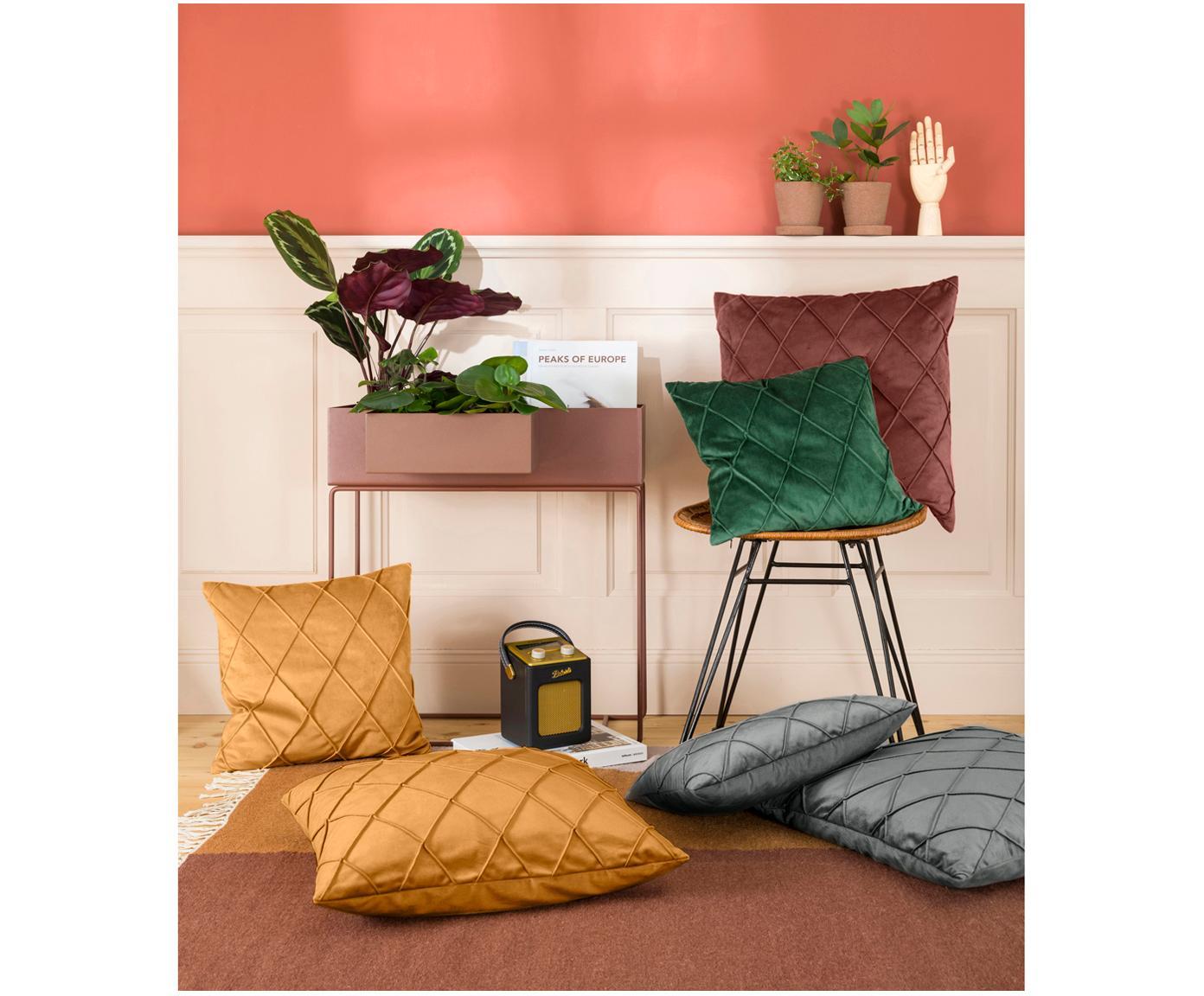 Poszewka na poduszkę z aksamitu Nobless, Aksamit poliestrowy, Zielony, S 50 x D 50 cm