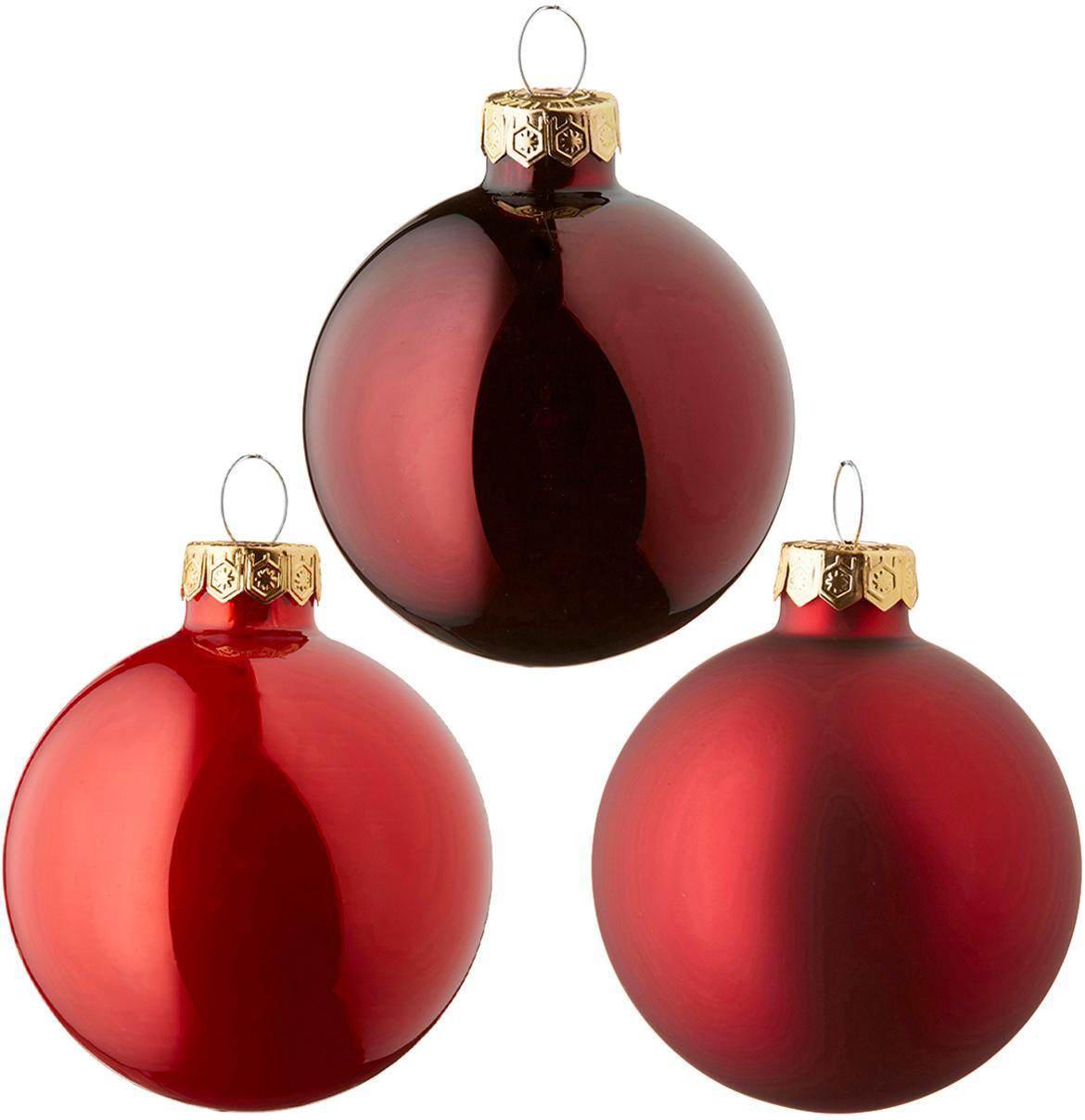 Set de bolas de Navidad Globe, Ø6cm, 49pzas., Vidrio, Rojo, Ø 6 cm