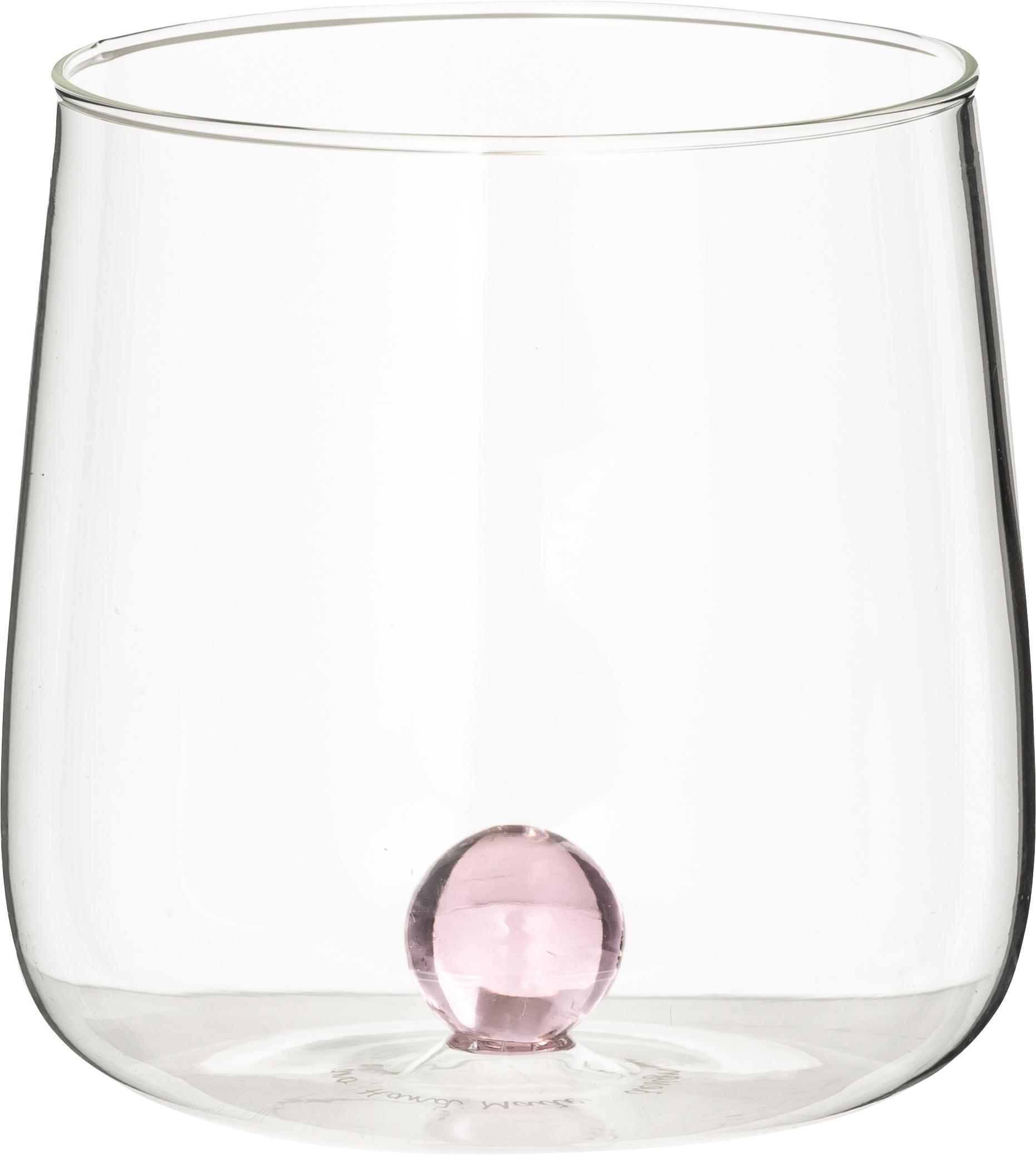 Bicchiere acqua in vetro soffiato Bilia 6 pz, Vetro borosilicato, Trasparente, rosa, Ø 9 x Alt. 9 cm