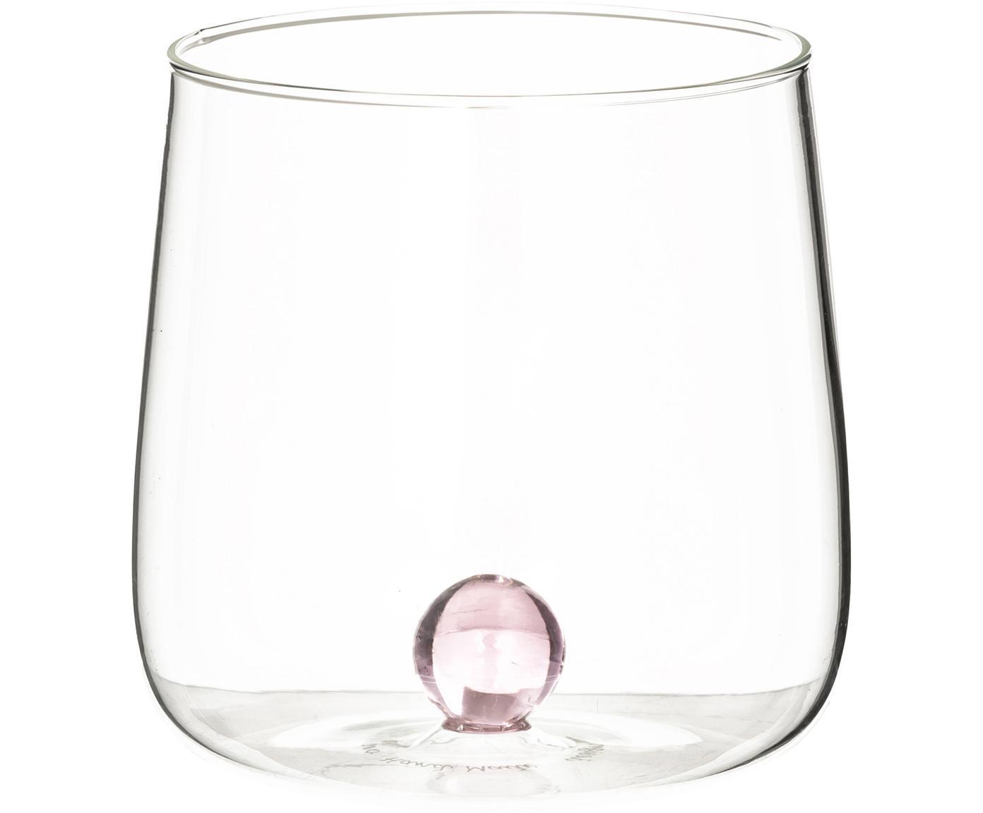 Vasos de vidrio soplado de diseño Bilia, 6uds., Vidrio de borosilicato, Transparente, rosa, Ø 9 x Al 9 cm