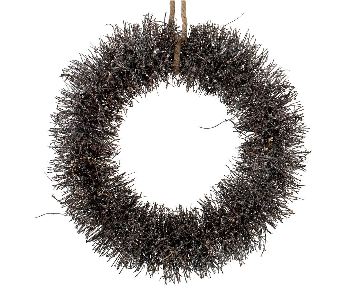 Decoratieve krans Alvia, Bruin, zilverkleurig, Ø 40 x H 10 cm