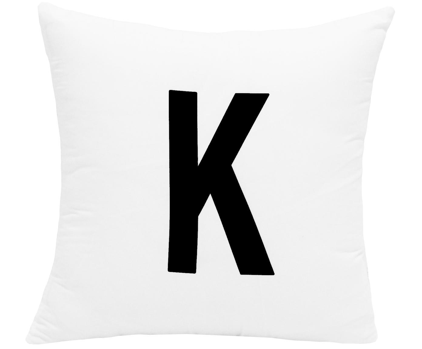 Funda de cojín Alphabet (variantes de A a Z), 100%poliéster, Negro, blanco, Variante K