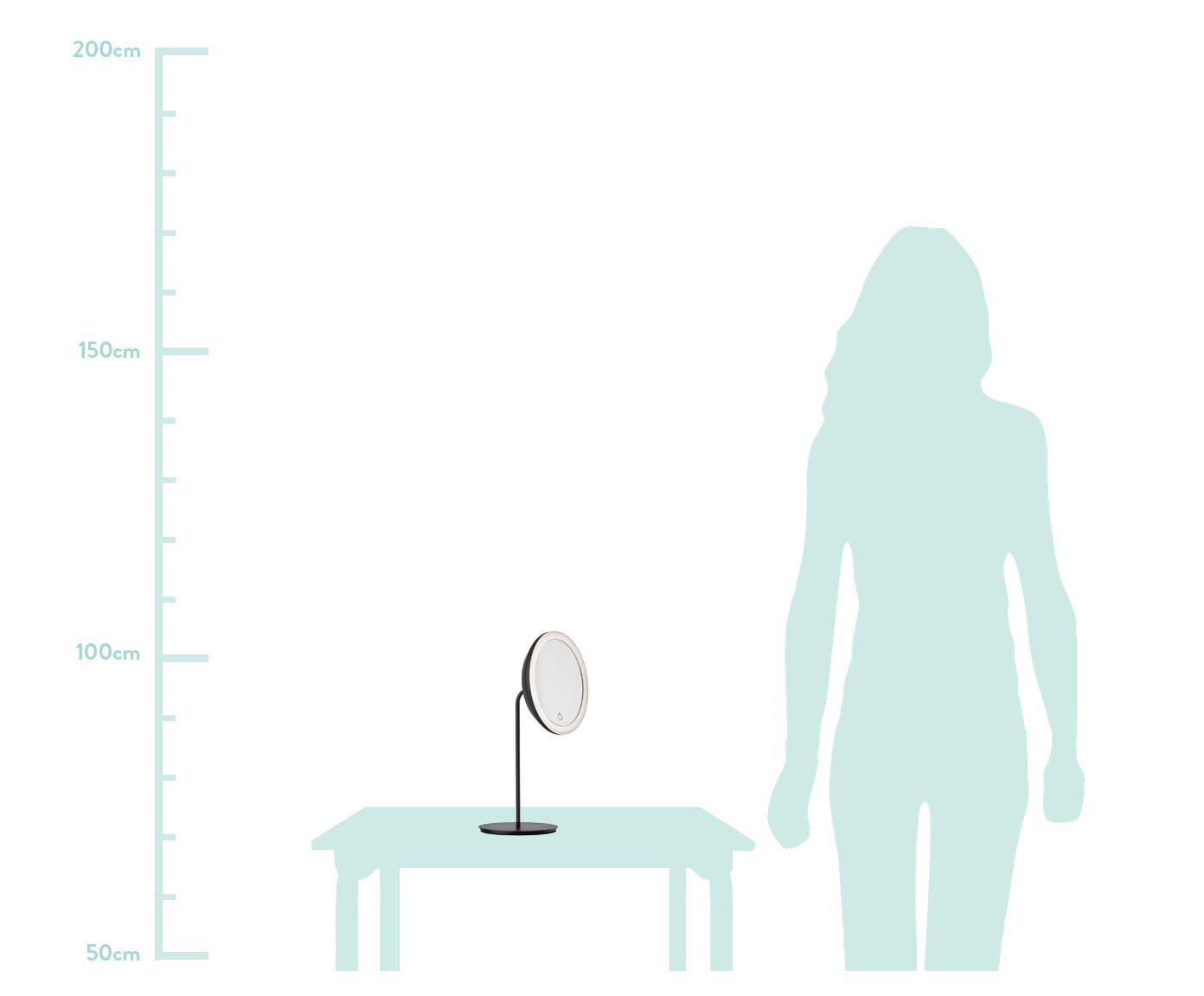 Make-up spiegel Maguna met vergroting, Metaal, Zwart, 18 x 34 cm