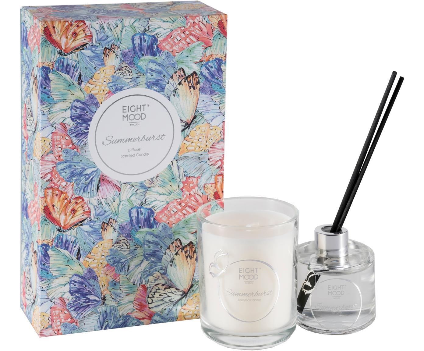 Ambientador & vela perfumada Summerburst (manzana, cassis y naranja), 2pzas., Caja: papel, Recipiente: cristal, Multicolor, An 10 x Al 22 cm